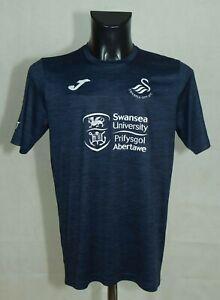 Swansea City Joma Training Football Polo Shirt Blue SIZE M VGC //