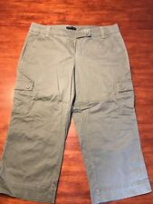 New York & Company Women's  Army Green Capri Cargo Cropped Pants 12