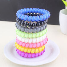 5pcs Telephone Wire Cord Head Rings Hair Band Ponytail Holder Candy-colored