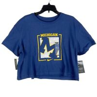 Nike Michigan Wolverines Dri Fit Womens Crop Top Blue Short Sleeve Crew L New