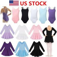 US Kid Girl Ballet Dance Tutu Dress Leotard Toddler Gymnastics Costume Dancewear
