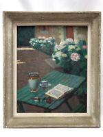 EMILE MESNAGER HUILE PANNEAU COMPOSITION SUR TABLE 1940 BOUQUET DE FLEUR C2423