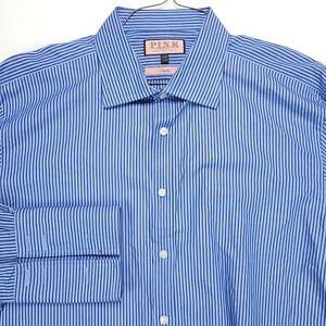 Thomas Pink Dress Shirt 18 35 Classic Fit Blue Navy Cotton Mens
