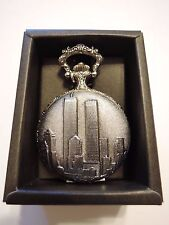 Just Reduced Sale Quartz Pocket Watch Trade Center Twin Towers Silver Color