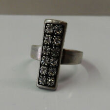 Sterling Silver Finish Adjustable Vintage Sale! Antique Style Ring Crystals