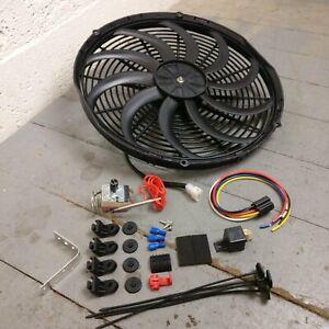 """1953-86 Jeep CJ DJ Series Adj Temp 16"""" 3000CFM S-Blade Cooling Fan Kit"""