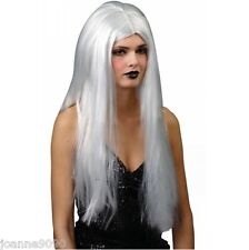 CLASSIC LONG SILVER FANCY DRESS STRAIGHT WIG COSTUME ACCESSORY LADY GAGA