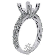 1.25CT Women Semi Mount Princess Cut Diamond Halo Engagement Ring 18K White Gold