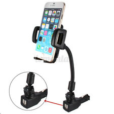 Dual USB Ports Car Charger W/ Cigarette Lighter Mount Holder For Cell Phone A+