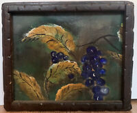 "Vintage Still Life Painting Of Grapes On Canvas Signed Leo Twait 10""x12"""