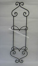 Large Two Plate Holder Wall Rack in Rustic Country French Provincial Black Metal