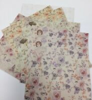 "16x Double Sided floral pattern Paper square sheet craft vintage Edwardian 6""x6"""