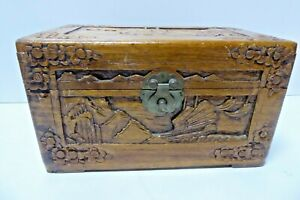 VINTAGE CHINESE CARVED CAMPHOR TIMBER JEWELLERY BOX  WOODEN TEA CHEST