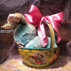 VTG Bunny Rabbit F.W. Woolnough Blue Stuffed Animal Plush Doll Easter Décor TLC