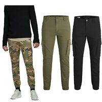 Jack & Jones Mens Cuffed Cargo Combat Work Trousers Camo Army Smart Casual Pants