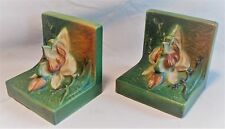 COLLECTIBLE PAIR ROSEVILLE POTTERY BOOKENDS MAGNOLIA PATTERN CA 1940's