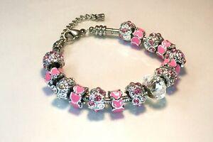 Pink Diamanté and Heart Bead Charm Bracelet