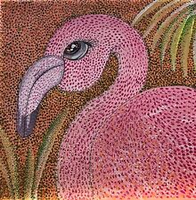 Flamingo pointilism tropical painting original art modern folk pink