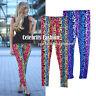 ac15 CFLB Ladies 80s Shiny Neon Metallic Electric Leopard Print Leggings Punk