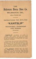 VINTAGE 1910s KANTSLIP HORSE OVERSHOE INSTRUCTIONS & RECORD! ADJUSTABLE SHOES!