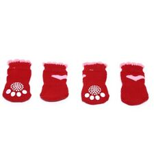 4pcs Cute Pink Heart & Red Non-Slip Dog Socks for Clean Comfy Paws Pet Puppy Cat