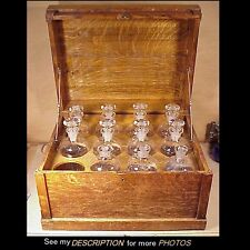 Antique Victorian Oak Apothecary Traveling Chest & Bottles