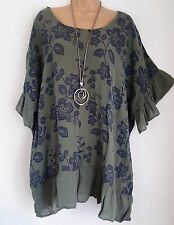 New Ladies Lagenlook Cotton Khaki Floral frill loose tunic top fits 18 20 22 24