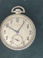 Illinois Pocket Watch Antique Circa 1926 The Autocrat 14K White Gold Filled Runs