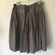 Odille Silk Skirt Sz L Brown 100% Silk