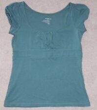 Womens Old Navy Short Sleeve Teal Top Shirt Cotton Blend Size Juniors XS EUC