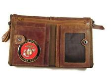 USMC US MARINE CORPS VINTAGE FINISH BROWN GENUINE COWHIDE BIFOLD WALLET NEW