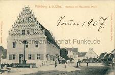 Ansichtskarte Mühlberg Elbe Rathaus mit Neustädter Markt 1907