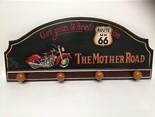 Vintage Route 66 Coat Hanger Harley Motorbike Retro Pub Bar Wooden Handcrafted