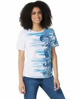 Denim & Co. Womens Printed Short-Sleeve Top Small Blue A354142