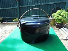 LARGE ANTIQUE AUSTRALIAN ENAMEL BOILER AND LID c1930