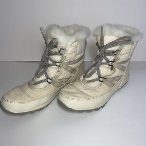 Sorel Women's 9 Whitney Short Lace Up Cream Waterproof Boots NL2776-920 Faux Fur