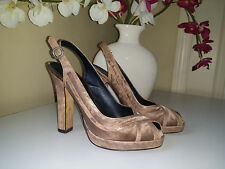 COLE HAAN Dust Pink-Beige Peep Toe Slingback High Heels Platform Pumps Sz.6,5B