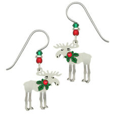 Pierced Earrings ~Handcrafted in Usa Sienna Sky Christmas Moose with Holly