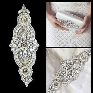 Diamante Crystal Rhinestone Silver Applique Motif Sew/Iron On DIY Wedding Dress