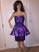 VTG 80'S S SIZE 8 MIKE BENET PURPLE METALLIC LAME PARTY PROM DRESS COCKTAIL