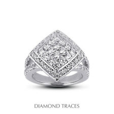 Diamonds 950 Plat. Halo Right Hand Ring 1 1/2ct F Vs1 Round Natural Certified