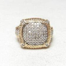 Estate 10K Yellow And White Gold 93 Single Cut Diamond Cluster Ring 1.25 Cts