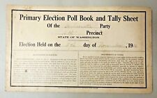 RARE 1921 ELECTION POLL BOOK TALLY DEMOCRAT PARTY BELLINGHAM WHATCOM WASHINGTON