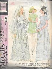 Complete sewing pattern McCall's 2252 brides bridesmaid dress vintage ladies 12