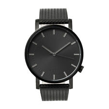 Black + Black Leather Minimalist Watch for Men Swiss Quartz Nixon/Komono Style