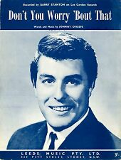 BARRY STANTON - DON'T YOU WORRY ABOUT THAT - Original SHEET MUSIC Australia 1961