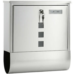 NEW LARGE LOCKABLE MAILBOX POSTBOX OUTSIDE POST LETTER BOX WALL MOUNTED STEEL