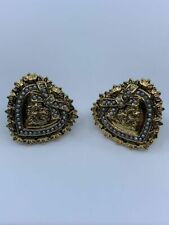 Auth Dolce & Gabbana Sacred Heart Gold & Pearls D&G Earrings / L0553