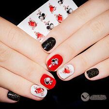 Nail Art Water Decals Transfer Stickers Poker Spade Pattern Manicure Tips XF1360