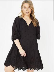 George Bnwt Black Schiffli Broderie Scallop Hem Tiered Smock Dress Size 18/20
